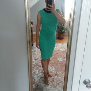 St. John Marie Gray green knit skirt top set